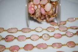 Pink Opal Gemstone Bezel Connector Chain