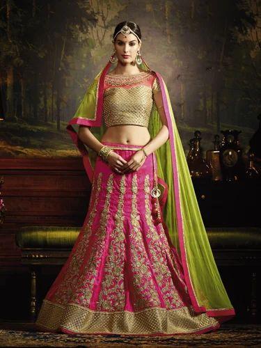 ee513f1a89 Pink Silk Cording Zari & Kali Work Embroidery With Stone Work Lehenga, For  Wedding &