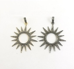 Pave Set Cubic Zirconia Oxidized Silver Sun Charm Pendant