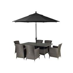 Smart Seating Black Arabian Dining Table and Chair with Umbrella, For garden