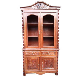 Brown Hinged Ace Wood Crafts Furniture Teak Handcrafted Wooden Almirah, For Home, Number Of Doors: 2