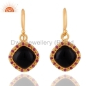 Natural Ruby Black Onyx Gemstone Earrings Jewelry