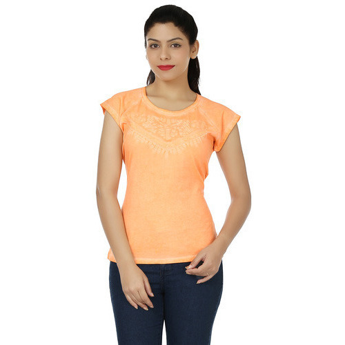 Women Cotton Round Neck Plain Orange Short Sleeve Top, Size: L
