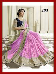 Pink Georgette With Net Saree