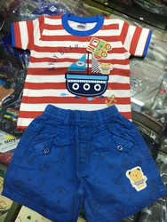 Kids Baby Red T Shirt And Blue Pant Suit