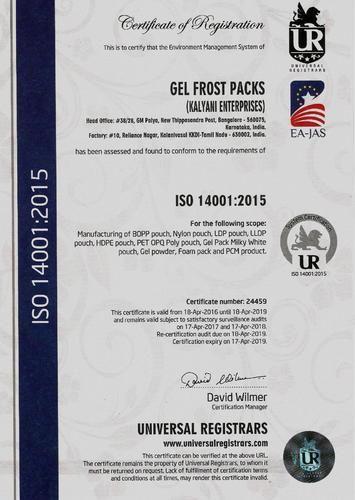 Gel Frost Packs Kalyani Enterprises - Manufacturer from Parrys