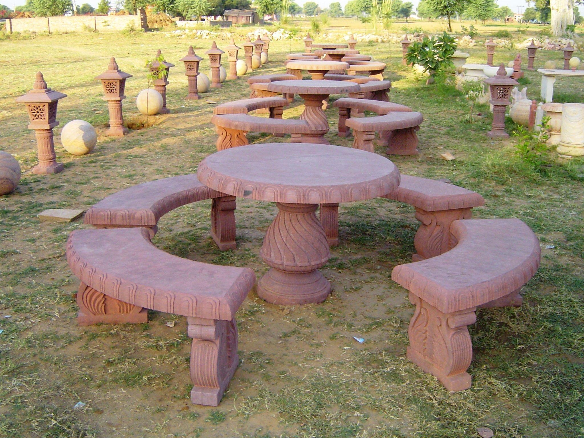 Stone Garden Furniture, पत्थर से बना बगीचे का