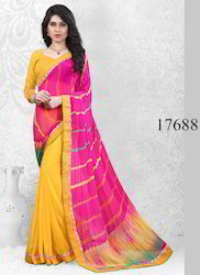 b6f76a50c Yellow and Pink Printed Rajasthani Bandhani Sarees