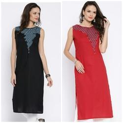Cotton Camric Kurti With Embroidery