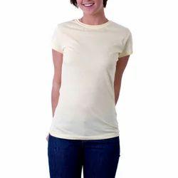 Girls Cotton Light Yellow Round Neck Plain T Shirt