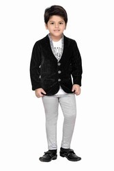 Boys Grey And Black Party Wear Suit Set