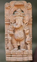 Lord Ganesh Samriddhi Intricately Carved Stone Sculpture