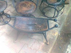Wrought Iron Wooden Chair Table