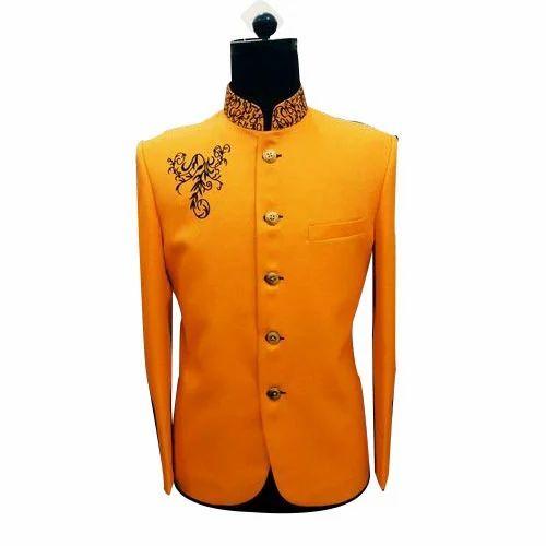 Mens Orange Jodhpuri Blazer