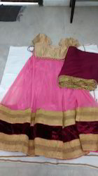 Net Ghagra With Stitched Blouse N Georgette Chunni