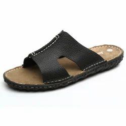 Daily Wear Black Men's Leather Slipper