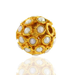 18k yellow gold pearl bead finding ball