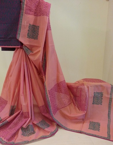 Jute Blend Cotton Printed Saree with Blouse, Length:  5.5 m