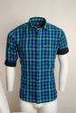 Blue Green Checked Urban Design Casual Shirts