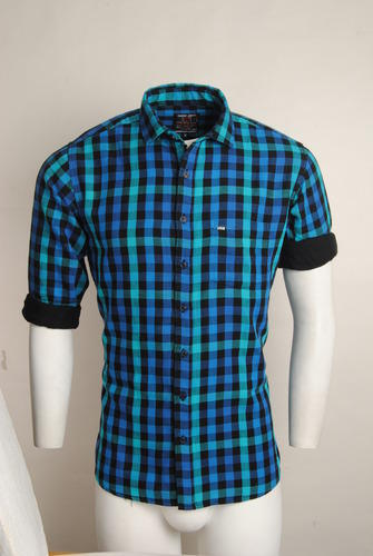 07358ccca Medium and Large Redford Blue Green Checked Urban Design Casual Shirts
