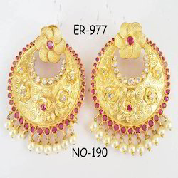 Anniversary And Party circle Shape Chand Bali Earring