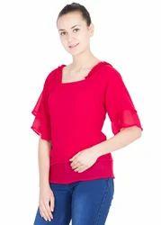 Red Georgette Top
