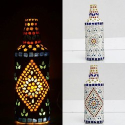 Multicolor Handmade Mosaic Glass Bottle, Size/Dimension: Standard