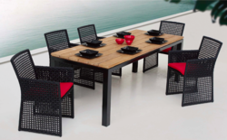 Mesh Style Outdoor Wicker Dining Table Set