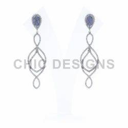 QDiamond Sapphire Dangle Earrings