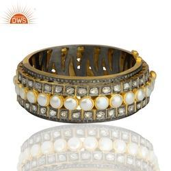 Beaded Pearl Pave Diamond Bangle Womens Jewelry