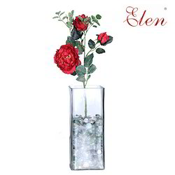 Polyester Artificial 19 inch Red Rose Flower Stick