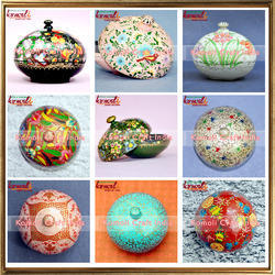 Powder Box - Hand Painted Paper Mache Box - Eco-friendly