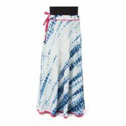 Handmade Block Print Indigo Shibori Long Skirt