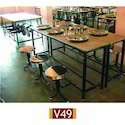 Stainless Steel And Ms Black Mess Dining Table/ Canteen Table, Seating Capacity: Three, Size: 7 X 1.5 Feet