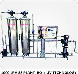 1000 LPH Stainless Steel Reverse Osmosis Plant