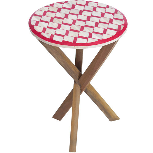 Bone Oak Side Table Red