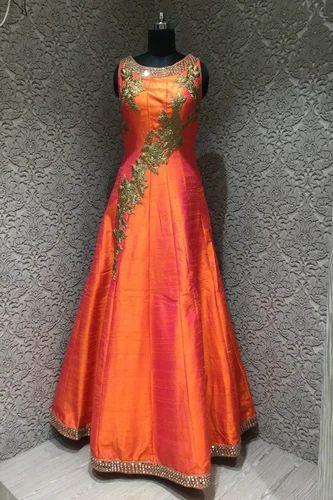 61071af80d Shimmering Orange Silk Designer Readymade Gown at Rs 27885 /piece(s ...