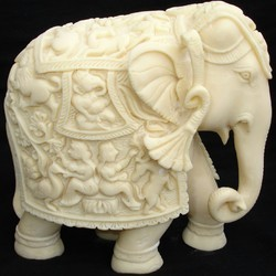 Elephant Trunk Down In Resin Statue
