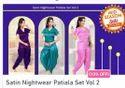 Satin Nightwear Patiala Set