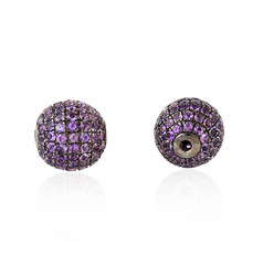 silver pave bead amethyst finding
