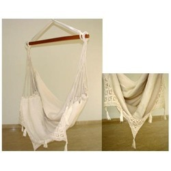 Fabric Hammock Chair with Crochet Border