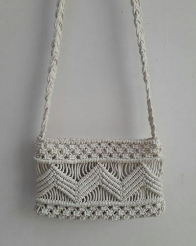 Offwhite Cotton Fabric Macrame Bag