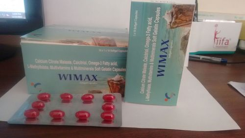 WIMAX Calcitrol, Omega 3 Fatty Acid, Mecobalamin, Folic Acid, Calcium, 10x1x10, Packaging Type: Blister