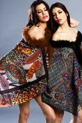 Ladies Wool Embrodiery Fur Shawls