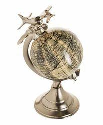 World Map Globe on Aluminum Base With Plane Nickel Finish