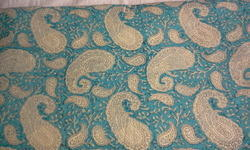 Sea Blue Paisley Block Printed Fabric