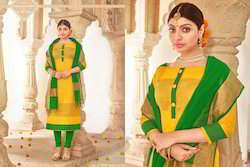 Party Wear Embroidered Khadi Silk Dress Material