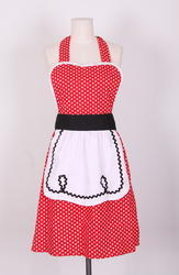 Red And White Cotton Kitchen Apron