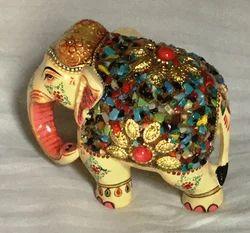 Wooden Elephant Multi Stones 4 inch