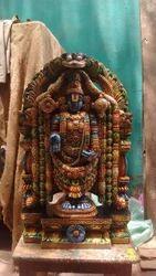 Multi Color Lord Balaji Wooden Statue